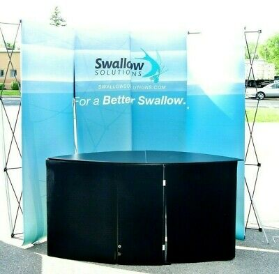 Nomadic Curved Tradeshow Display, Counter, Backdrop 10'x7.5' w/ Road Cases