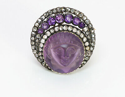 Antique Egyptian Revival Carved Amethyst Diamond Pendant Brooch