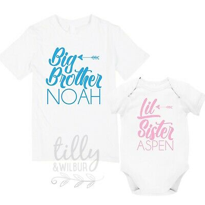 Big Brother Little Sister Personalised Matching Set, Brother Shirt Sister Shirt