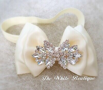 Baby Girl Ivory Christening Headband Baptist Hair Band Satin Bow Rhinestones