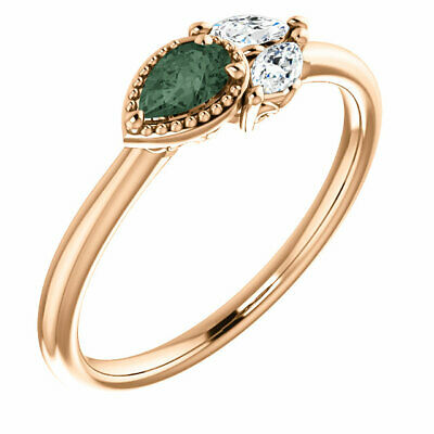 Chatham Created Alexandrite & 1/8 CTW Diamond Ring In 14K Rose Gold