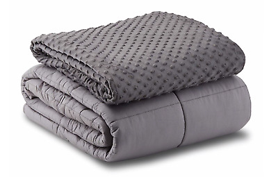Leniio Weighted Blanket with Removable Duvet Cover for Adults - 400 TC Heavy -