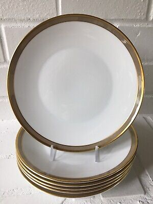 6x Rosenthal Germany Continental Gala Brown Gold Rimmed Salad Dessert Plates
