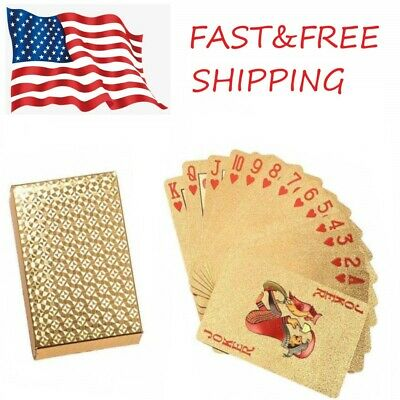 Waterproof 24K Gold Diamond Foil Poker Playing Cards - USA SELLER