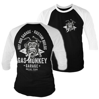 Officially Licensed Gas Monkey Garage Torch & Hammer 3/4 Sleeve Baseball T-Shirt