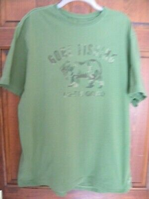 48523812b6142a LIFE IS GOOD Mens Size Large *FISHING BEAR* Heather Green Fish T ...