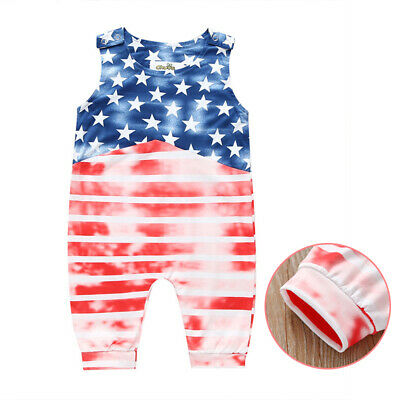 Cool jumpsuit boys romper Toddler baby Cotton Fashion USA flag summer