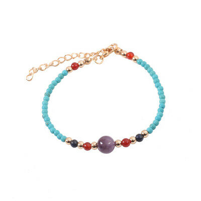 Lucky Stone Simple 3mm Beads Adjustable Bohemia Women 7 Chakra Bracelets Yoga