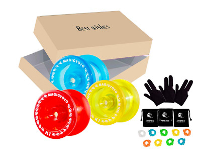 Pack of 3 MAGICYOYO Responsive YoYos K1-Plus Each with Glove, Bag and 3 Strings