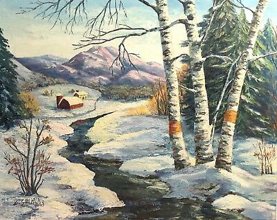E Simmons Vintage Winter Snow Landscape Study Painting White Birch Barn Mountain