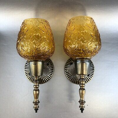 1 Of 6 Vintage Mcm Amber Textured Glass & Antique Brass Wall Sconce Light Lamp