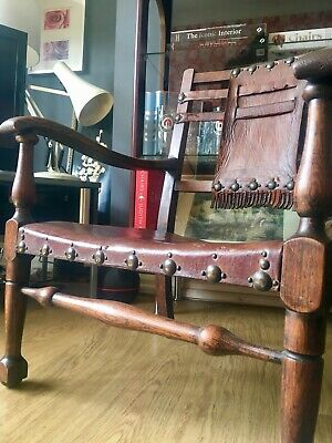 An Early 20th Century Arts And Crafts Leather Armchair Manner Of George Walton