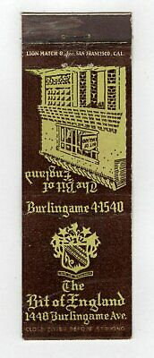 The Bit of England Burlingame California Vintage Matchbook Cover B15