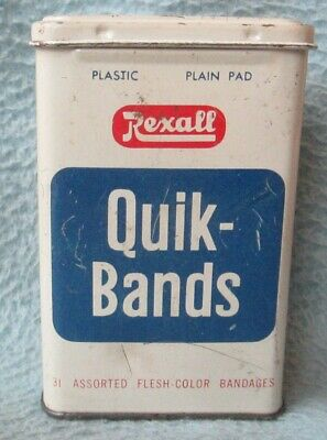 VINTAGE REXALL QUIK BANDS TIN CAN Advertising