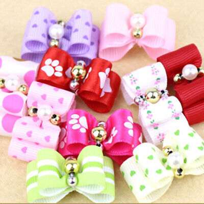 10Pcs Handmade Cute Pet Dog Bow Grooming Bows For Puppy Dogs Accessories UK