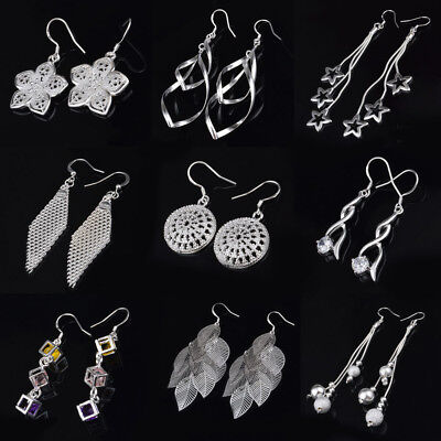 Women Crystal 925 Silver Plated Dangle Eardrop Ear Stud Hook Earrings Jewelry