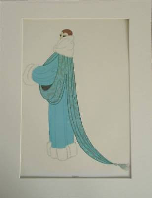 "Original Vintage Erte Art Deco PrinE ""Elegance"" In Mount 14"" X 11"""