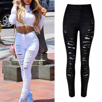 Women Skinny Ripped Denim Jeans Jeggings Pants High Waisted Slim Pencil Trousers