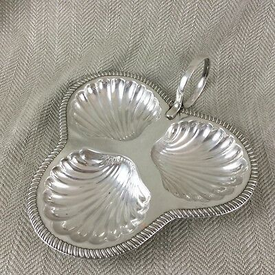 Vintage Silver Plated Sweetmeat Dish Handled Serving Tray Art Deco Clam Shell