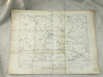 1910 Antique Map of Sussex Etchingham Rother District Old  Village
