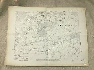1910 Antique Map of East Sussex Peasmarsh Park Rye Foreign Tillingham Level