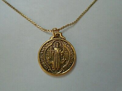 """Saint St Benedict Medal 1"""" Antique Gold on 18"""" Gold Plated Chain Necklace"""