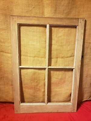 Vintage Old Antique Shabby Chic 4 Pane Wooden Window Frame No Glass Rustic Decor