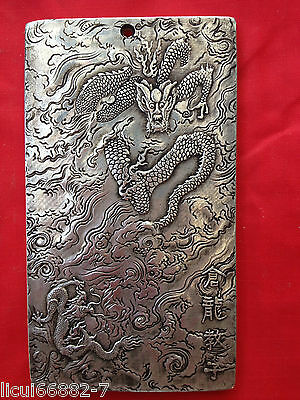 Old Chinese tibet Silver dragon teaches his son Bullion thanka amulet Pendant