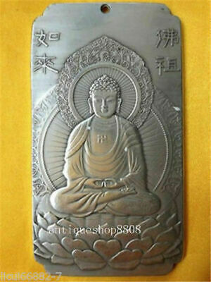 Old Chinese tibet Silver rulai Buddha Lotus base Bullion thanka amulet Pendant