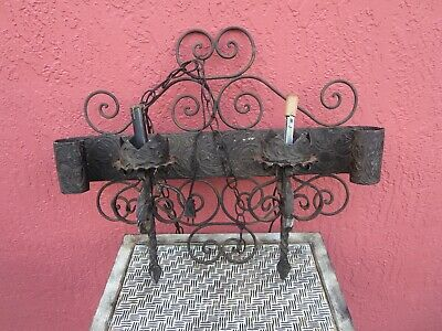 Vintage Spanish wrought  Iron Gothic 2 Light Wall Sconce