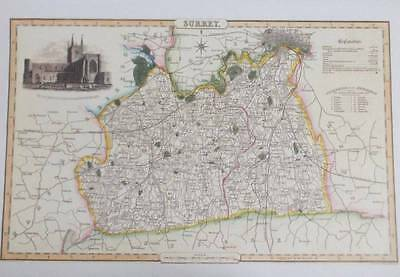 Map of the County of SURREY : 1840 Pigot and Co -  Reproduction