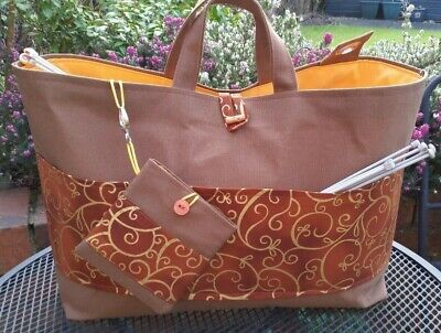 Knitting Bag, Large, Burnt Orange/Gold Pocket, Lined, FREE Accessories in Pouch