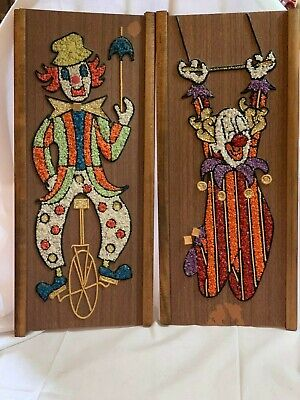 Vtg Mid-Century Gravel Pebble Art Clown Wall Hangings Unicycle and Trapeze