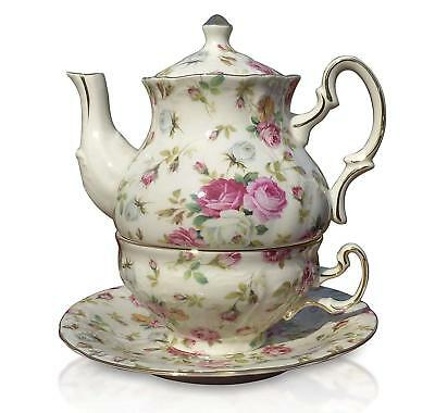 Chic Shabby Floral Rose Chintz Tea for One Porcelain Cup Teapot Saucer Set