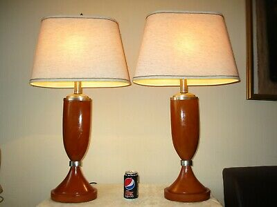 Huge Pair Of Vintage Solid Oak Table Lamps With Vintage Shades