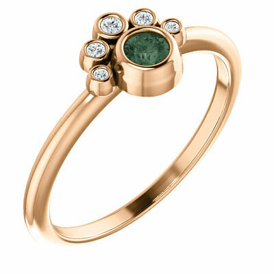Genuine Alexandrite & .05ctw Diamond Stackable Ring In 14K Rose Gold