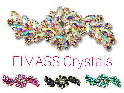 Style 8780 EIMASS® Sew or Glue on Jewelled Applique for Bridal Dress, Costumes