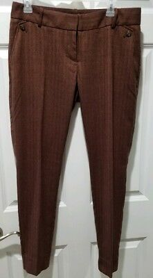 The Limited Drew Fit Size 8 Burgundy Red Brown Trim Ankle Trousers Dress Pants