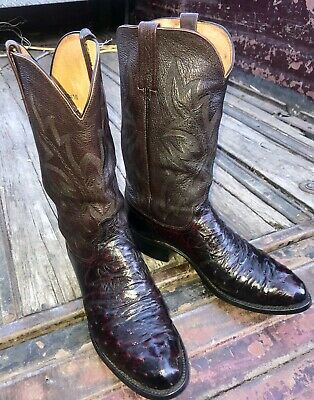 edf569a7e77 LUCCHESE MENS MONTANA Tan Burnished Full Quill Ostrich Boots M1606 ...