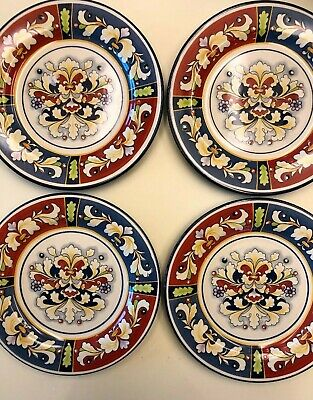 Pier 1 'Della Ceramiche' 4 Salad Plates Red Blue Panels Floral Scrolls NEW TAGS