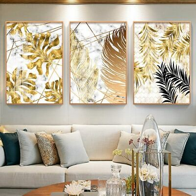 Canvas Painting Posters Nordic Style Golden Leaf Print Modern Decor Wall Art