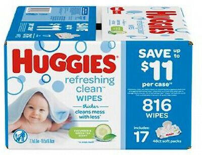 Huggies Refreshing Clean Cucumber and Green Tea Scented Baby Wipes, 17 pk./48