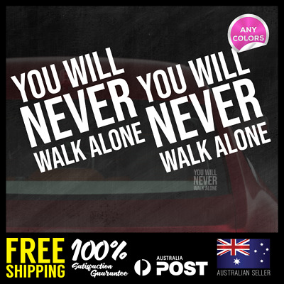 2X YOU WILL NEVER WALK ALONE LIVERPOOL Glass Decal Vinyl Sticker 110x120mm