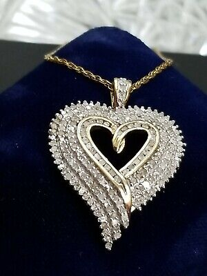 "1.5CT Diamond heart love pendant sterling silver 925 18/""chain necklace gift-NL10"