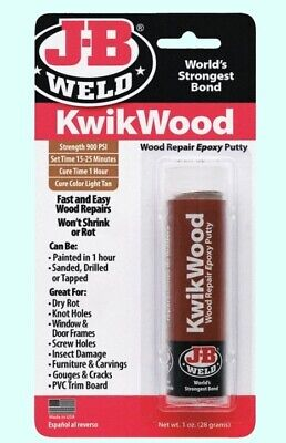 WOOD REPAIR EPOXY PUTTY Rebuild Exterior Interior J-B KwikWood Dry Rot Knot Hole