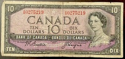 1954 - Ten Dollar Canadian Banknote - 10$, Bank Of Canada