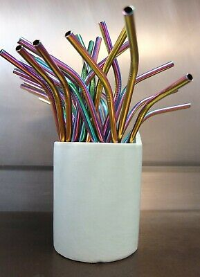 10 Stainless Steel Rainbow Colored Metal Drinking Straws FREE SHIPPING US Seller