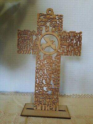 Beautiful Our Father Padre Nuestro y Espirito Santo Cutout Wood Cross w/Stand