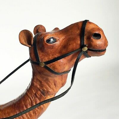 """Vintage Leather Wrapped Dromedary Camel 14"""" Tall Large Statue Christmas Decor"""