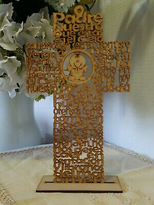Beautiful Our Father Prayer Angel Padre Nuestro Angel Cutout Wood Cross w/ stand